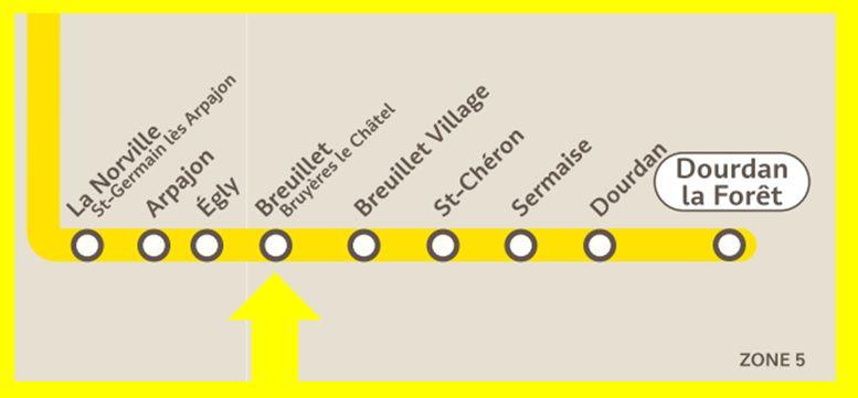 Plan RER C Breuillet - Bruyères-le-Châtel