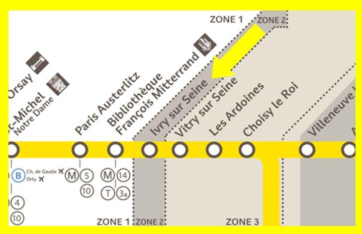 Plan RER C Ivry-sur-Seine