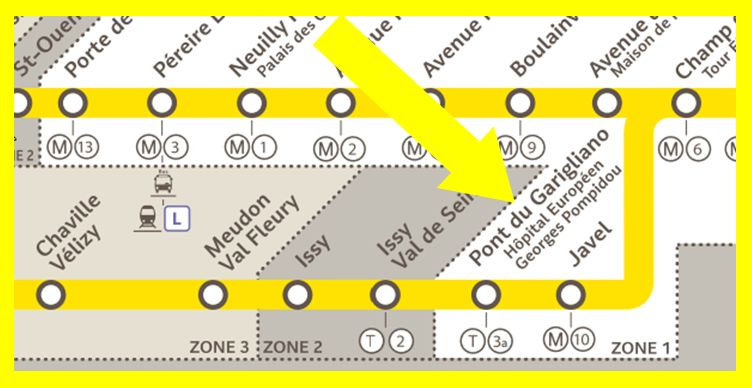 Plan RER C Pont du Garigliano
